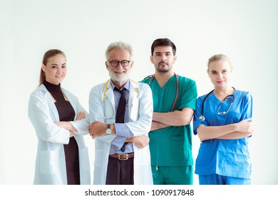 Portrait of doctor team on isolate white background.