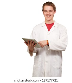 Portrait of a doctor using a tablet on white background