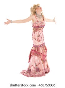 Portrait Drag Queen in Pink Evening Dress Performing, on white background