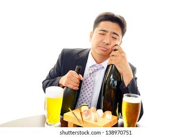 Portrait of a drunken man