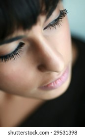 Portrait of east girl. Sharpness on eyelashes