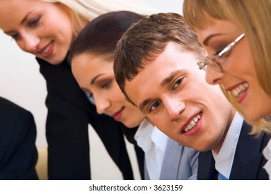 Portrait of easy going discussing business questions people sitting in a row