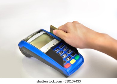 A portrait of EDC ( electronic Data Capture) machine on white background, hand sweeping card on it