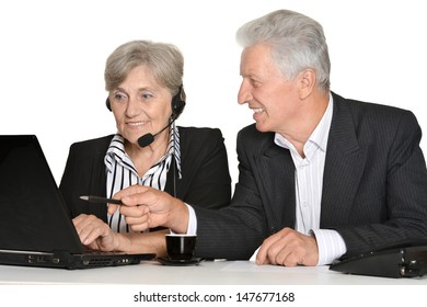 portrait of elder people working on a white background