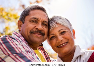 Portrait of elderly couple embracing in the park