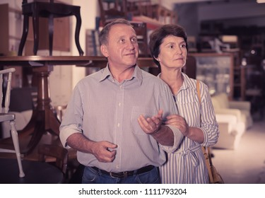 Portrait of elderly couple who is shopping in the antique store
