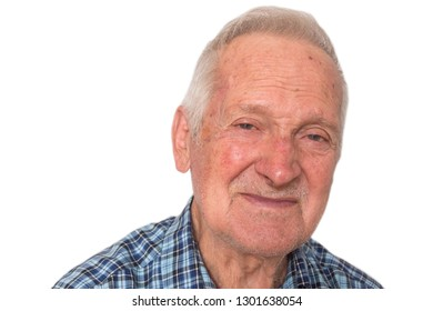 Portrait of elderly happy business man of  eighty years on a white isolation background.