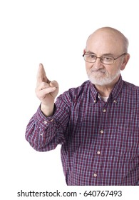 Portrait of an elderly man with a beard pointing; isolated on white background
