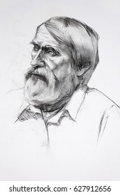 Portrait of an elderly man by charcoal
