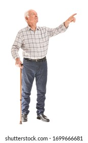 Portrait of elderly man with walking stick showing something on white background