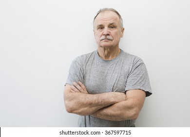 portrait of the elderly serious man