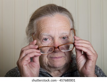 Portrait of an elderly woman.