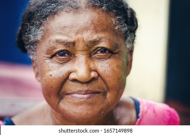 portrait of an elderly woman with beautiful look of Dominican Latin origin looking at the camera  - Shutterstock ID 1657149898