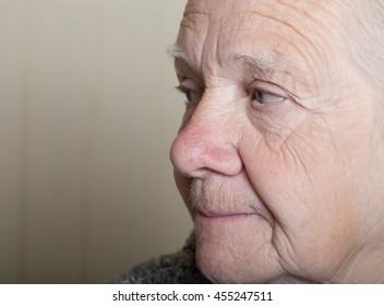 Portrait of an elderly woman. Closeup view.
