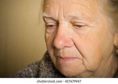 Portrait of an elderly woman. Closeup view. Toned.