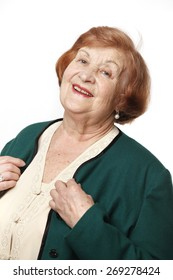 Portrait of an elderly woman on a white background