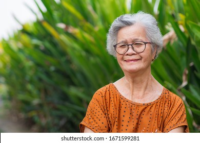 Portrait of elderly woman with short white hair standing smile and looking at the camera in garden. Old people healthy and have positive thoughts on life make her happy every day. Health care concept