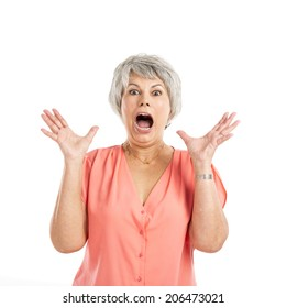 Portrait of a elderly woman surprised with something, isolated on a white background