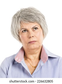 Portrait of a elderly woman with a thinking expression