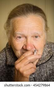 Portrait of an elderly woman. Toned.