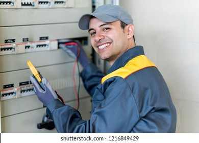 Portrait of an electrician at work