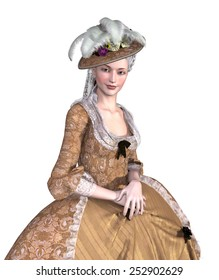 Portrait of an elegant lady wearing an 18th century Rococo style gown - 3d render.