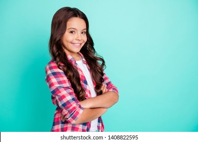 Portrait of elegant magnificent people little person good-looking ready study future leader  can do everything candid content rest weekend free time dressed checked shirt isolated teal background