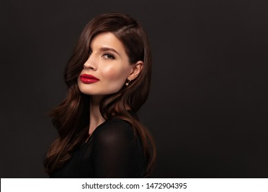 Portrait of elegant woman with beautiful hair