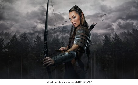 Portrait of elf woman with bowl over wildness nature background.