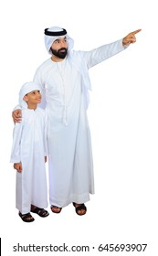 Portrait of Emirati  father and son going for Shopping