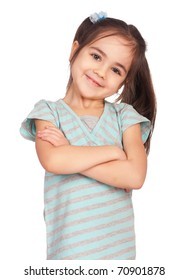 Portrait of a emotional beautiful little girl. Isolated on white background.