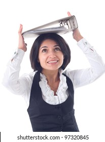 Portrait of emotional business woman with folders