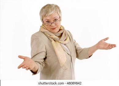 Portrait of  emotional elderly lady