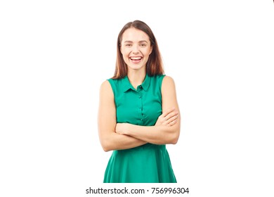 Portrait of emotional young woman in emerald green dress on white background