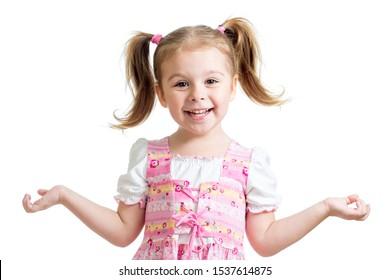 Portrait of emotionally kid. Funny beautiful child girl isolated on white background.