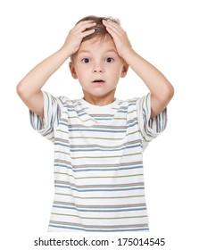 Portrait of emotionally little boy isolated on white background