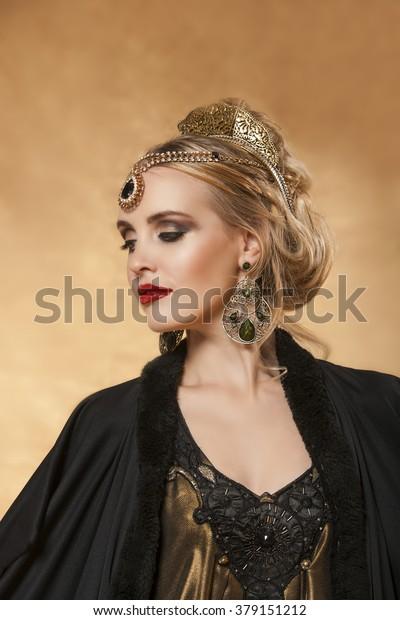 Portrait Empress Theodora Adorned Byzantine Jewelry Stock Photo