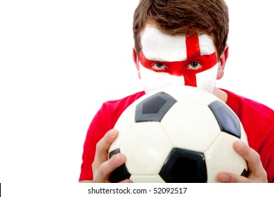 Portrait of an english football fan with his face painted and holding the ball - isolated