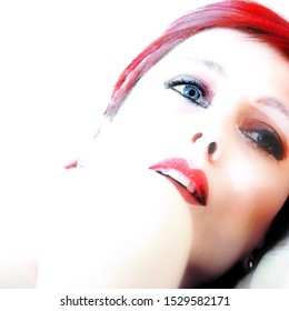Portrait of evanescent woman with red hair and makeup