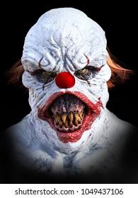 Portrait of an evil looking clown, 3D rendering. Black background.