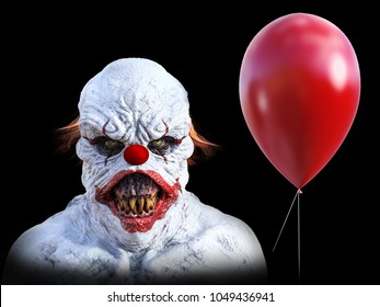 Portrait of an evil looking clown holding a red balloon, 3D rendering. Black background.
