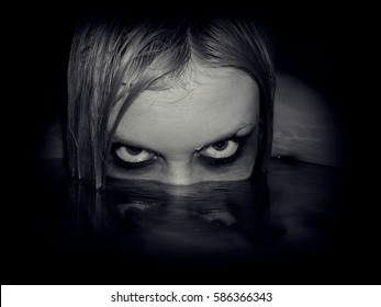 Portrait of evil mermaid.