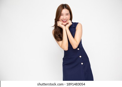 Portrait of excited screaming Asian woman isolated over white background, Wow and surprised concept