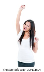 Portrait of an excited young woman with hand raised, isolated on white.