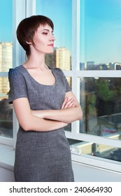 Portrait of a executive business woman by a window looking at camera with space for copy