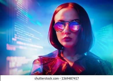A portrait of an extravagant dark-haired lady. Modern fashion, beauty and style. Technologies, robots, artificial intelligence.