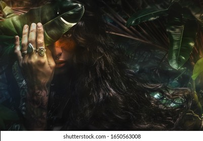 Portrait of fairy woman at enchanted  forest