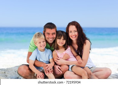 Portrait of a family at the beach