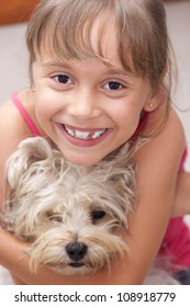 Portrait Of Family, Happy Little Girl And Her Dog Outdoor