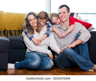 Portrait family members spending quality time together at home